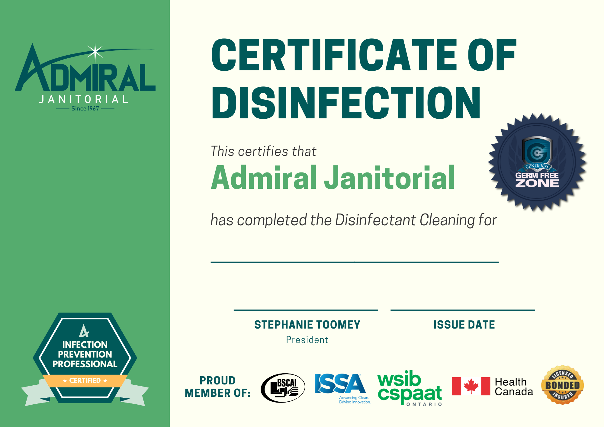 Admiral Janitorial Certificate of Disinfection