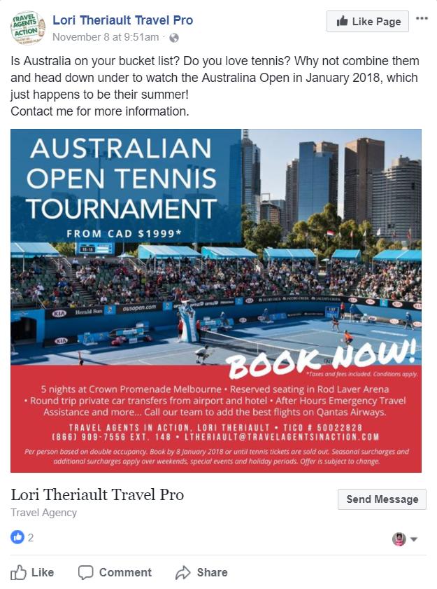 Lori Theriault, Travel Pro Australian Open Facebook Ad