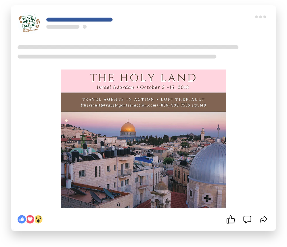 Lori Theriault, Travel Pro Facebook Ad for The Holy-Land